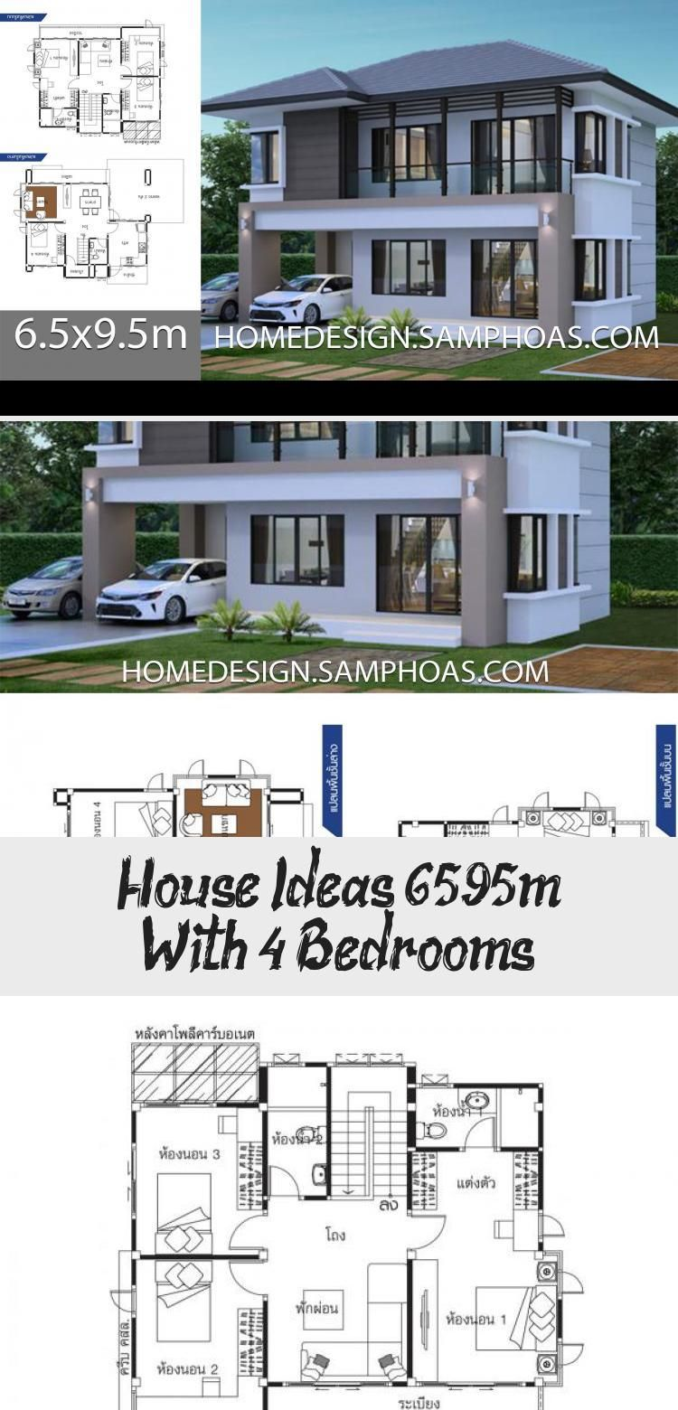 House Ideas 6 5x9 5m With 4 Bedroomshouse Description Ground Level One Bedroom One Car Parking Living Room Dining In 2020 House Floor Plan 4 Bedroom Modern Bedroom