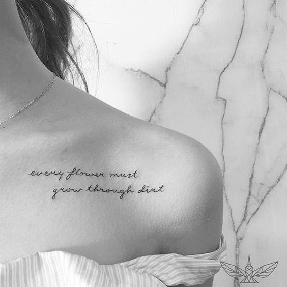 42 Amazing And Meaningful Collar Bone Tattoo For Women Writing
