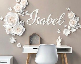 Ombre Paper Flowers - Ombre Paper Flowers Wall Decor - Ombre Nursery Wall Decor (code:#155)