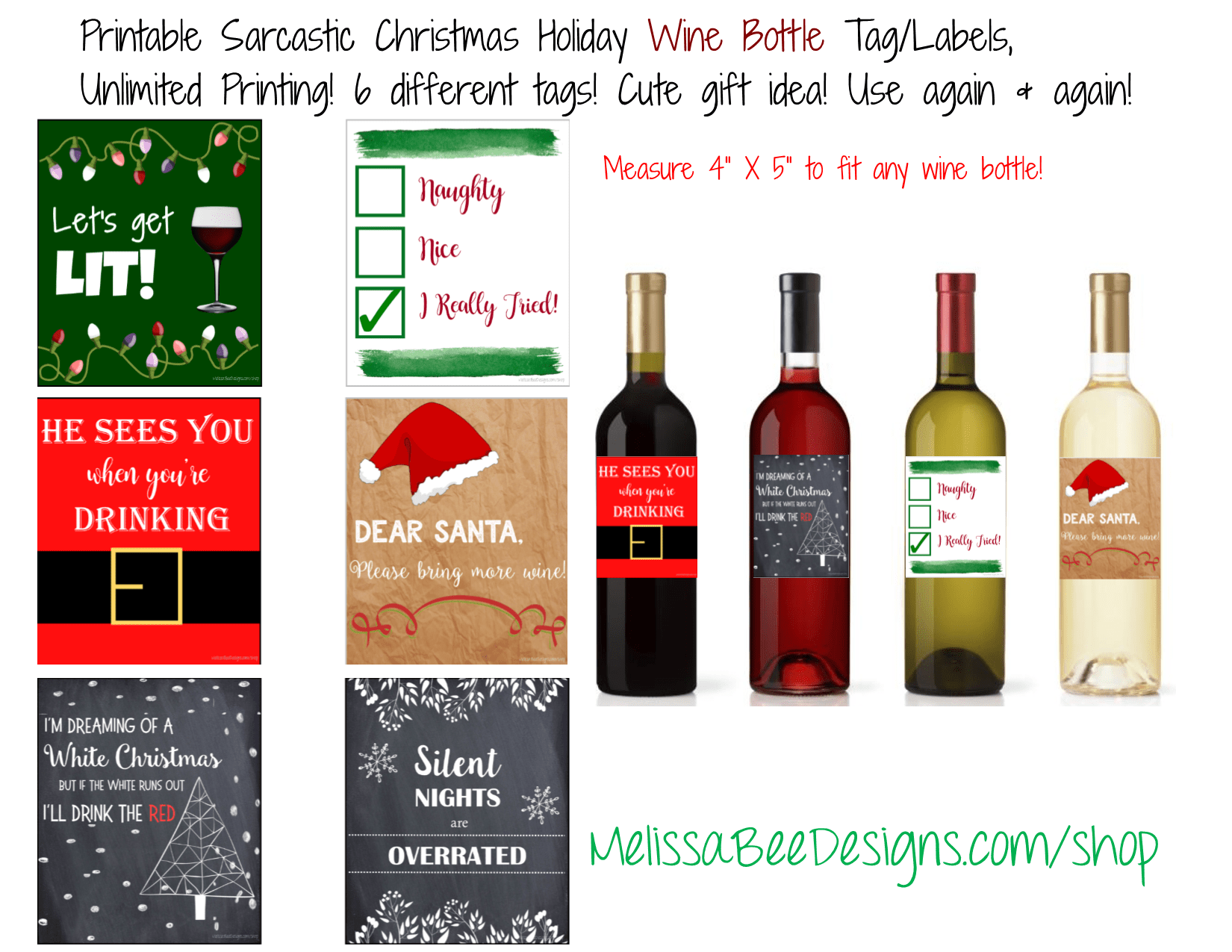 Printable Sarcastic And Funny Wine Labels Christmas Holiday Theme