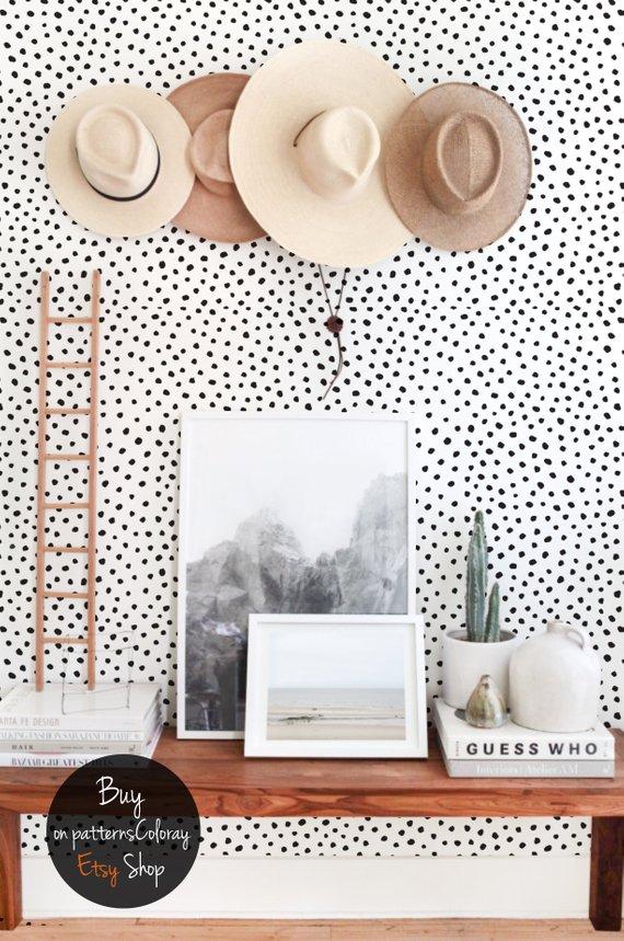 Onwijs Zwarte stippen behang   Zwart-wit minimalistische verwisselbare DV-46