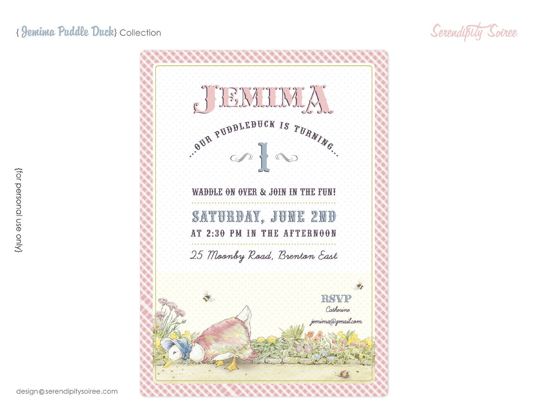 Jemima Puddle Duck (Beatrix Potter) - Custom Printable Invitation ...
