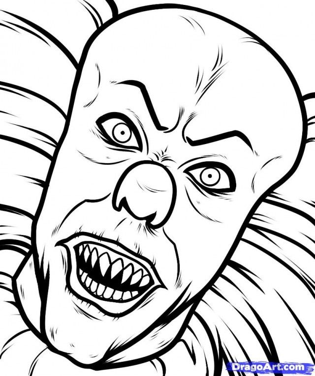Scary Clown Coloring Pages Scary Drawings Scary Coloring Pages Scary Clown Drawing