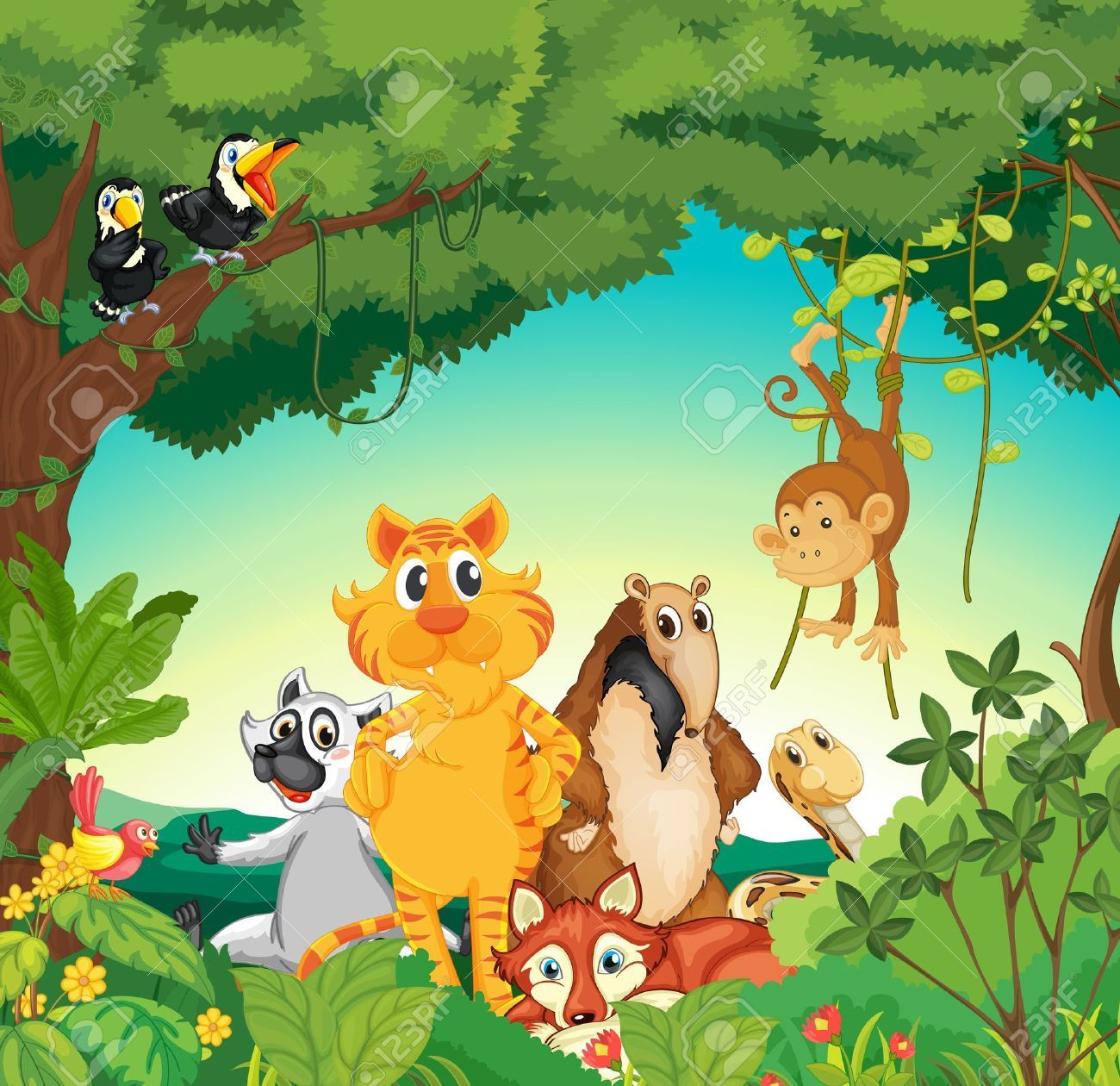 illustration of a forest scene with different animals royalty free