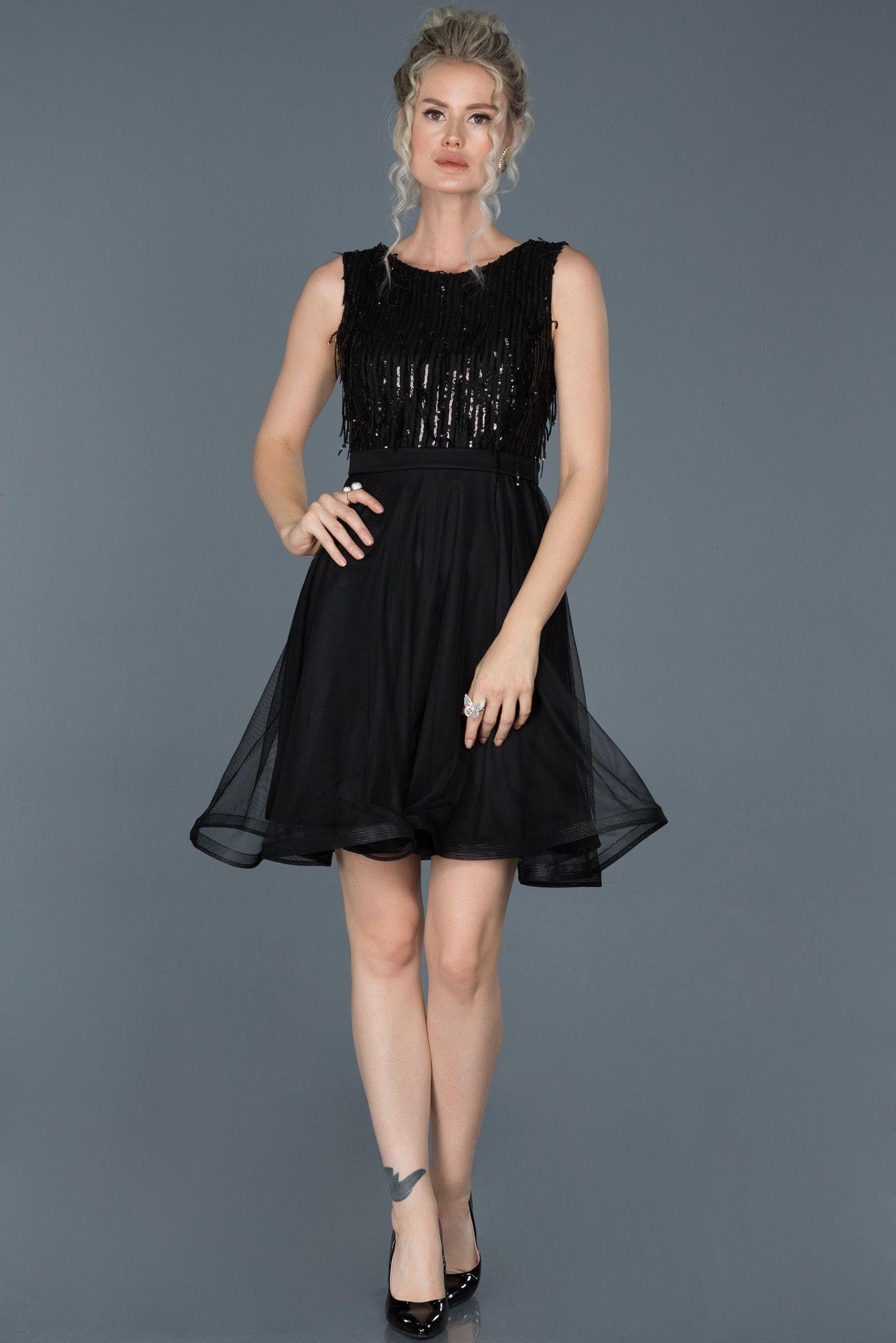 Siyah Kisa Payetli Tul Etekli Davet Elbisesi Abk601 2020 Aksamustu Giysileri The Dress Elbise Modelleri