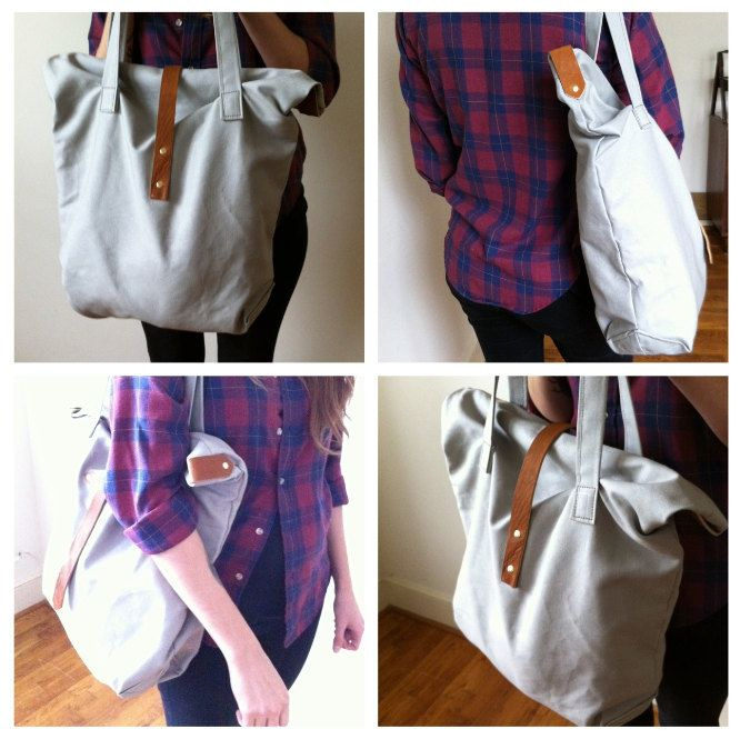 Canvas carry all tote leather handles and strap by ArrowsDesign