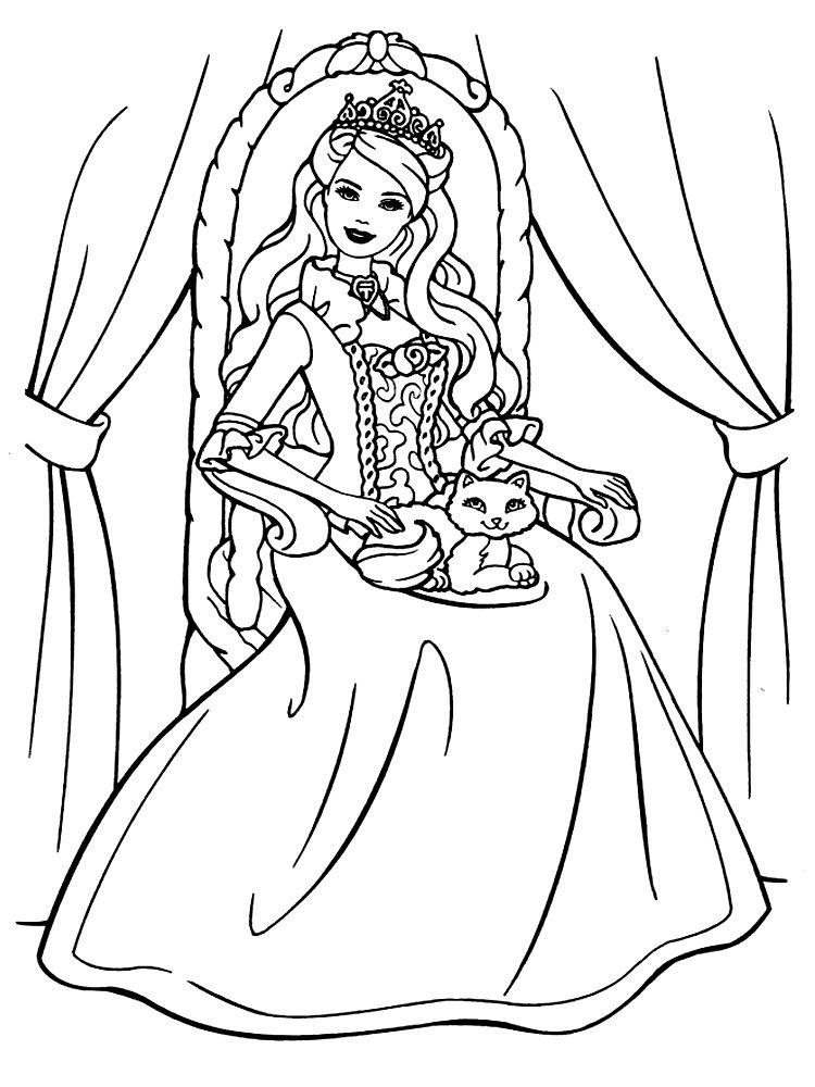 Распечатать картинки-раскраски для девочек Барби ...