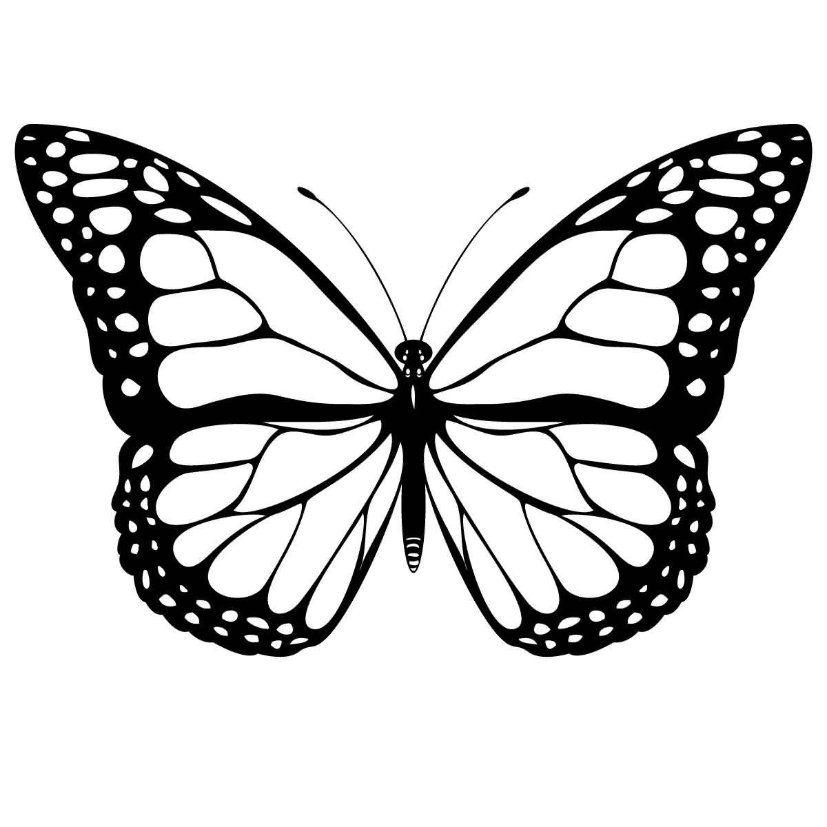 Stencil Design On Paper Flying Monarch Butterfly Tattoo Design