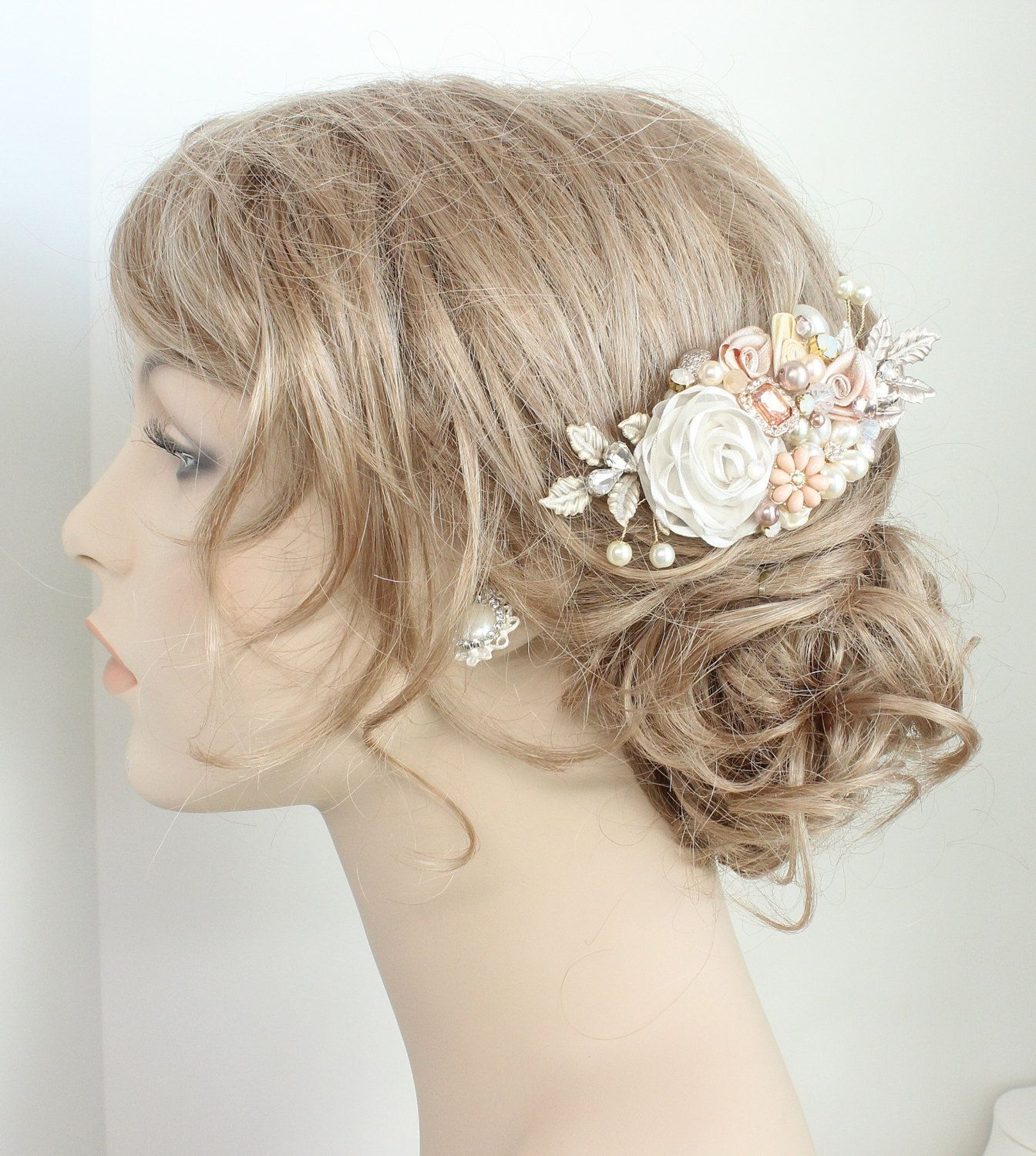Rose gold wedding hair accessories - Rose Gold Hairpiece Rose Gold Bridal Comb Bridal Hair Accessories Wedding Hair Accessories