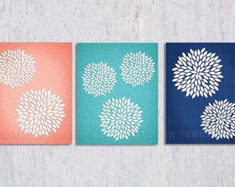 Printable C Navy Flower Burst Turquoise Dahlia Wall