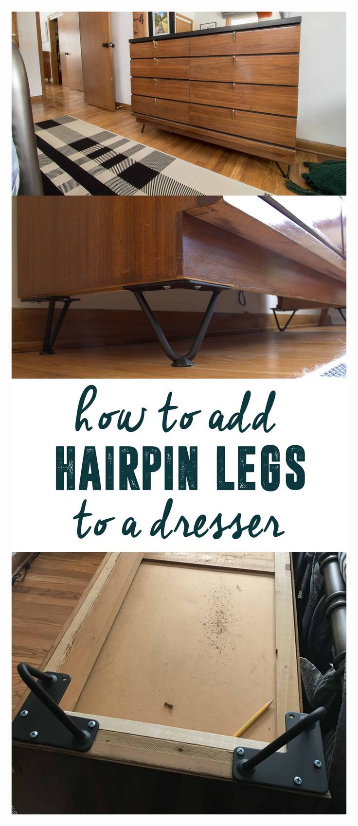 """How to Add Hairpin Legs to a Dresser, Add legs to a dresser, How to Add legs to a Dresser, Short Hairpin Legs, 4"""" Hairpin Legs, How to install hairpin legs on a dresser, Vintage Dresser with Hairpin Legs,"""