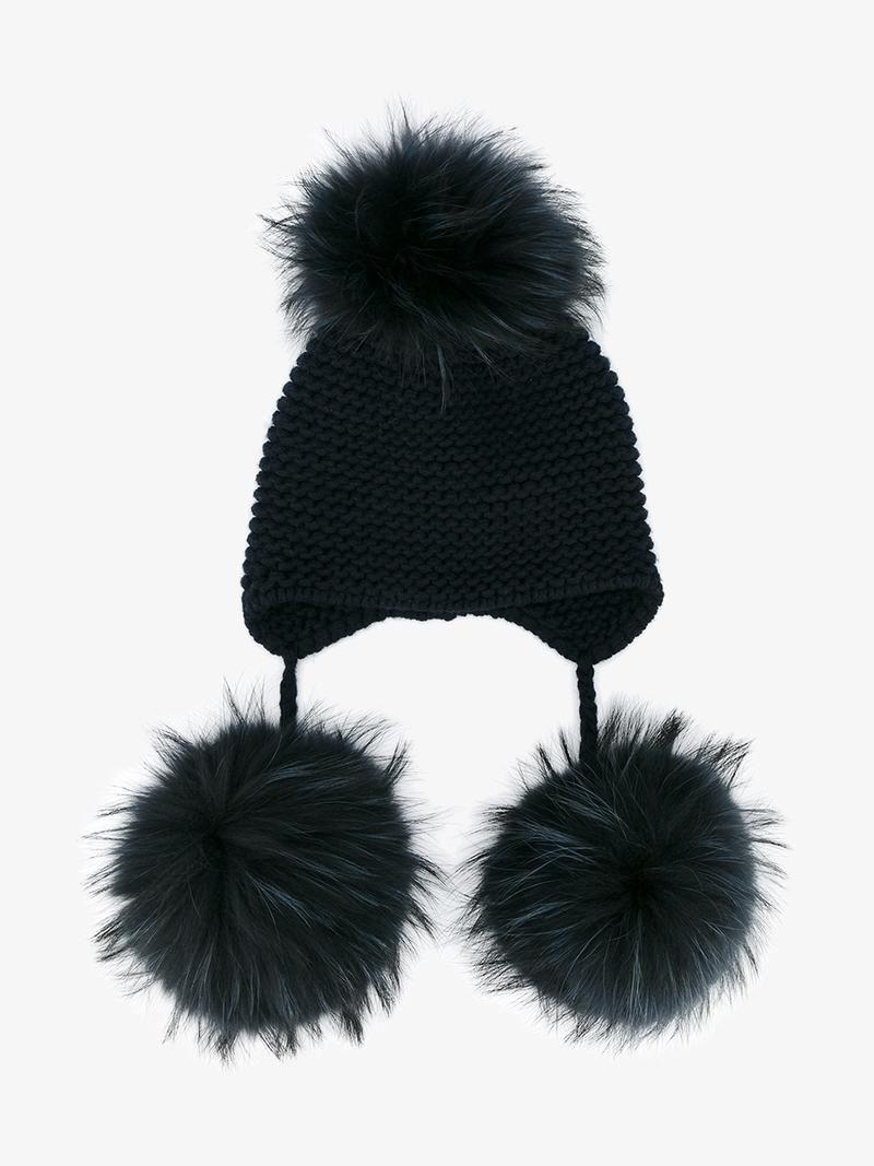 fox fur triple pom pom beanie hat - Grey inverni D7VgMTrq0
