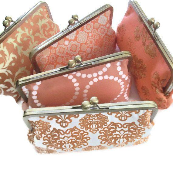 Wedding Party Gift Ideas For Bridesmaids: Peach Wedding Clutches, Monogrammed Wedding Party Gift