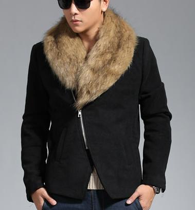 Images of Mens Fur Collar Coat - Reikian