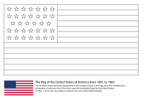 Us Flag With 34 Stars 1861 1863 Coloring Page From American Civil War Category Select F Flag Coloring Pages American Flag Colors American Flag Coloring Page