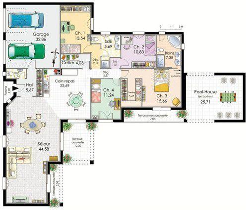 Villa de plain-pied Plain pied, Rez de chaussée et Plans - Plan Gratuit Maison Plain Pied