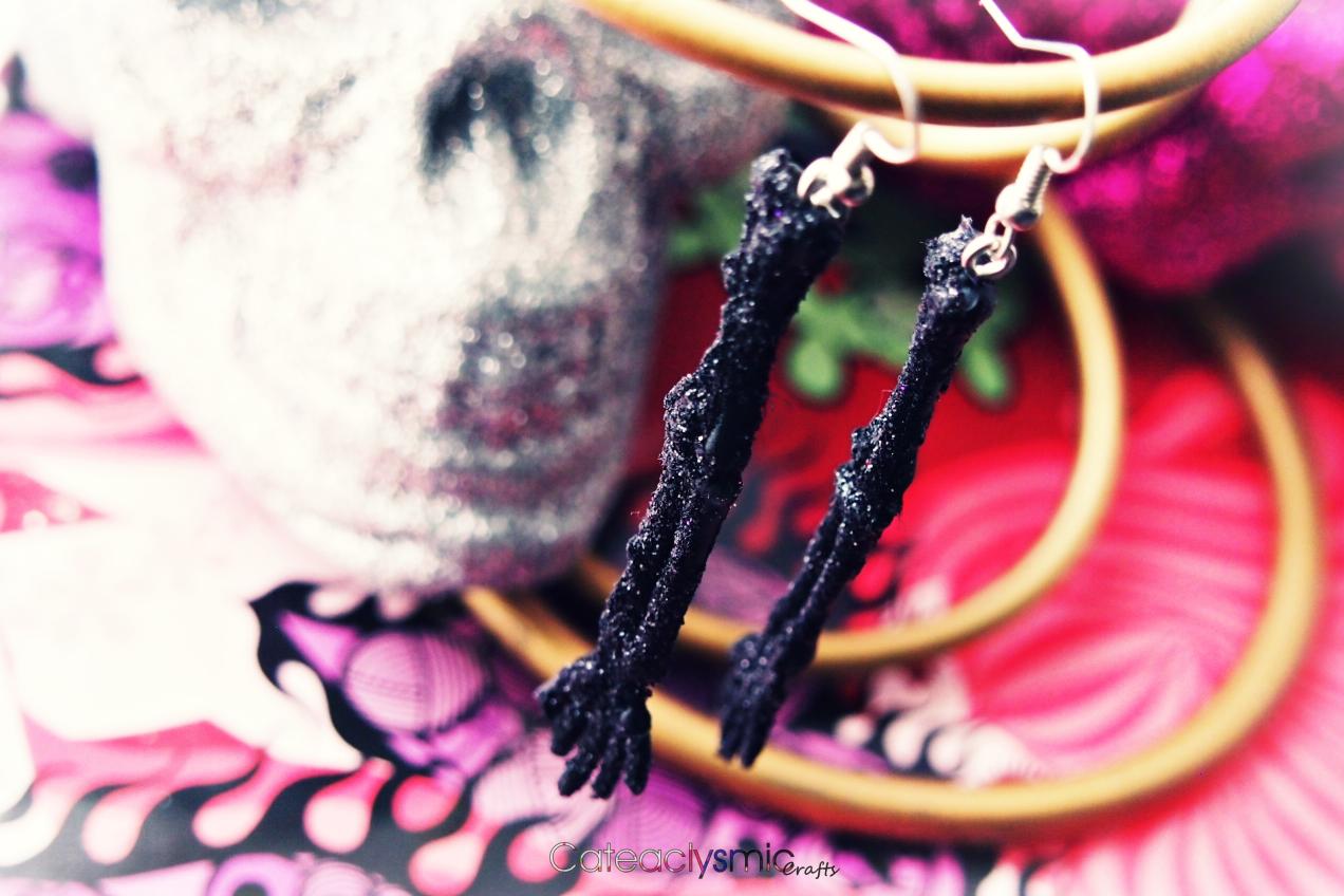 Black Glitter Skeleton Arm Earrings Earrings, Black