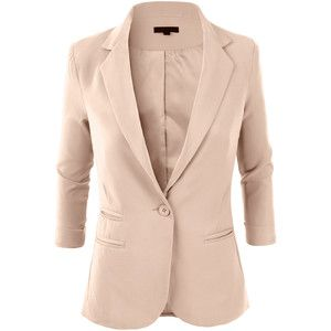 LE3NO Womens Fitted 3/4 Sleeve Blazer Jacket | Fall Outfits ...