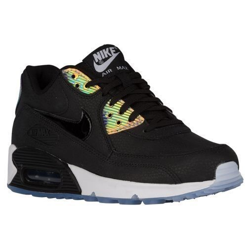 designer fashion a8c2b 9a6cd Nike Women S Air Max 90 Leather Running Shoes Sneakers Black Iridescent  Hologram