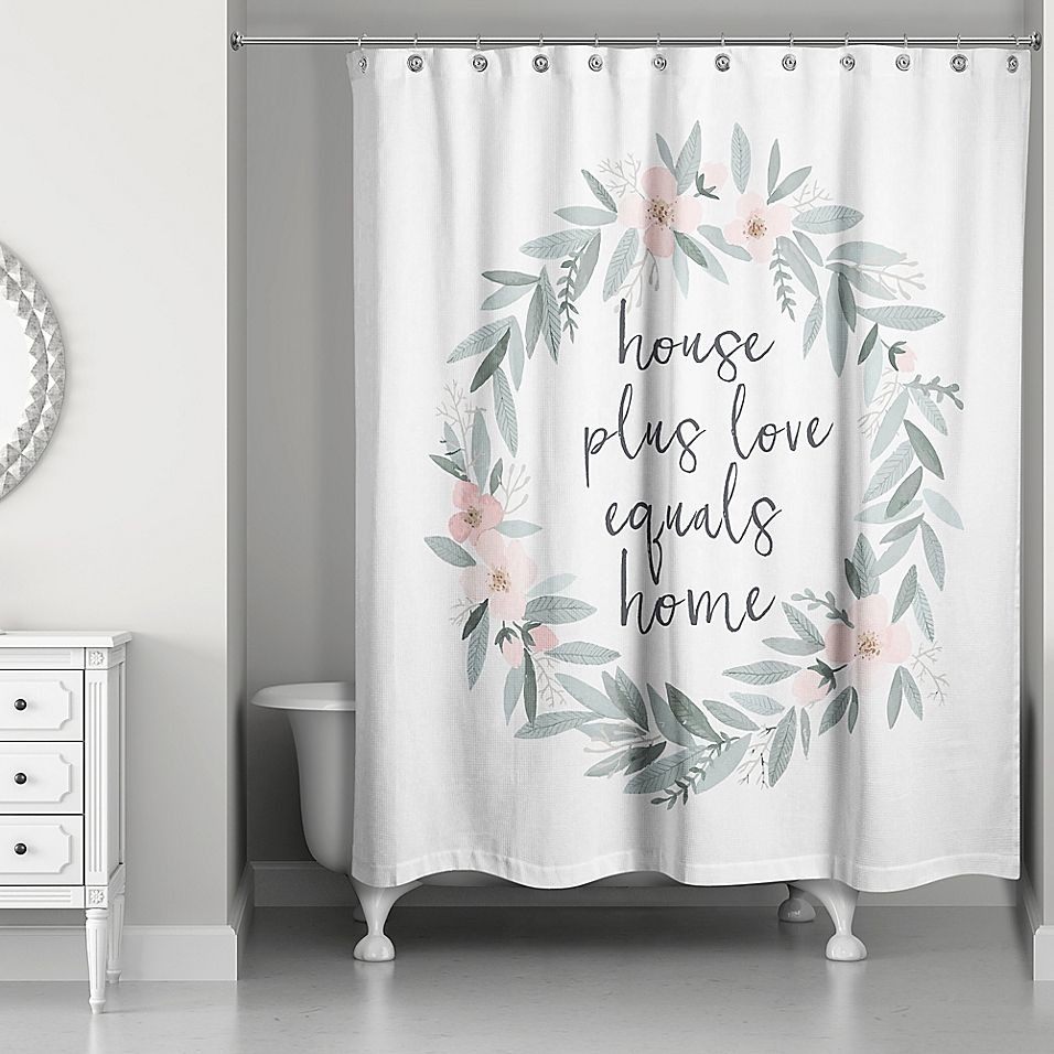 Designs Direct House Plus Love Shower Curtain Green In 2020