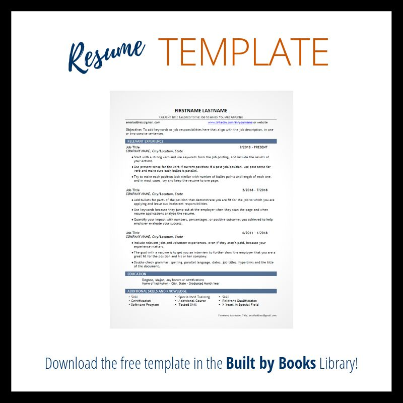 Built by books resume template free resume template resume