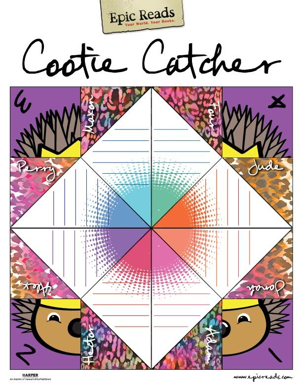 Download and print the Epic Reads Cootie Catcher! Reading - cootie catcher template