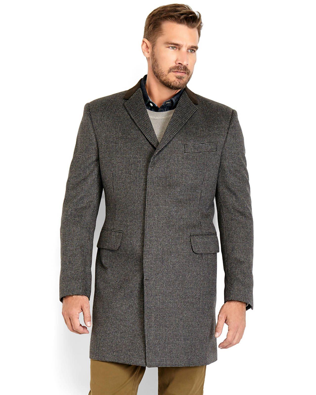 TOMMY HILFIGER Grey & Black Houndstooth Overcoat