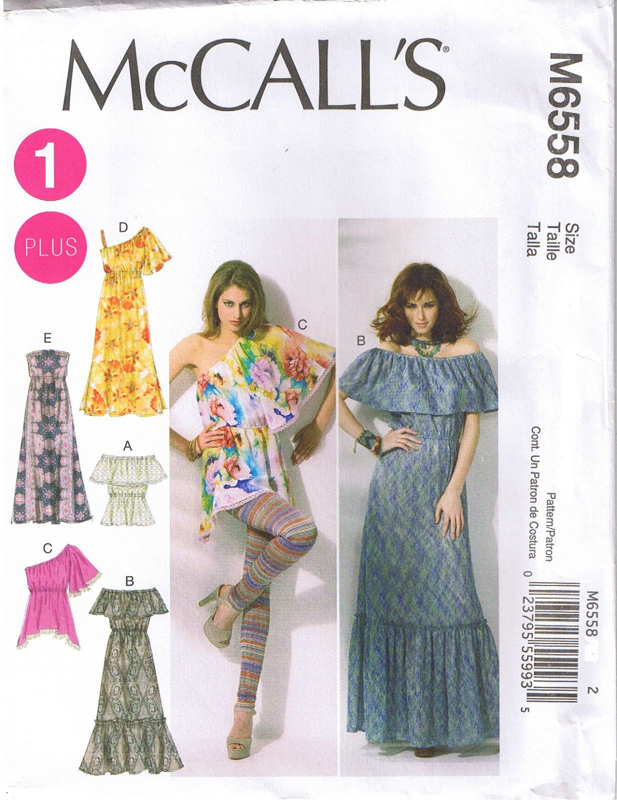 Peasant Top Maxi Dress Ruffle Sleeve Variation Sewing Pattern Plus ...