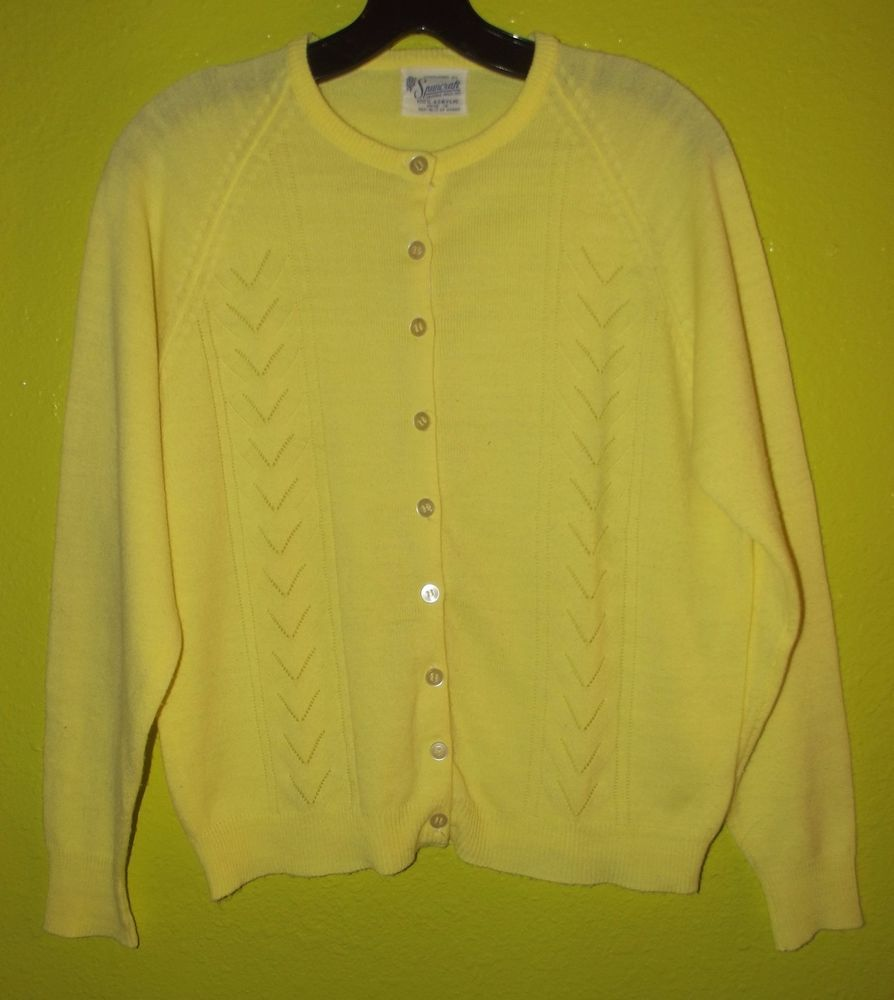 Vintage 50's Bright Yellow Cardigan Sweater Acrylic by Spuncraft ...