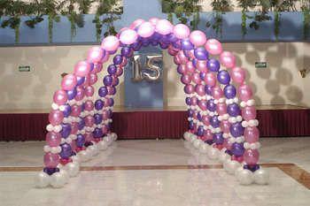 Adornos para fiestas de XV aos con globos 1 Globos