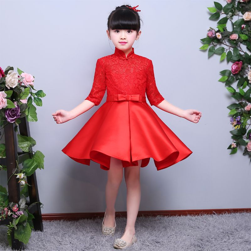 cd5dd350a Chinese Style Traditional Red Color Dress For Girls Children Kids Cheongsam  Lace Dresses Baby Princess Wedding Birthday Dresses