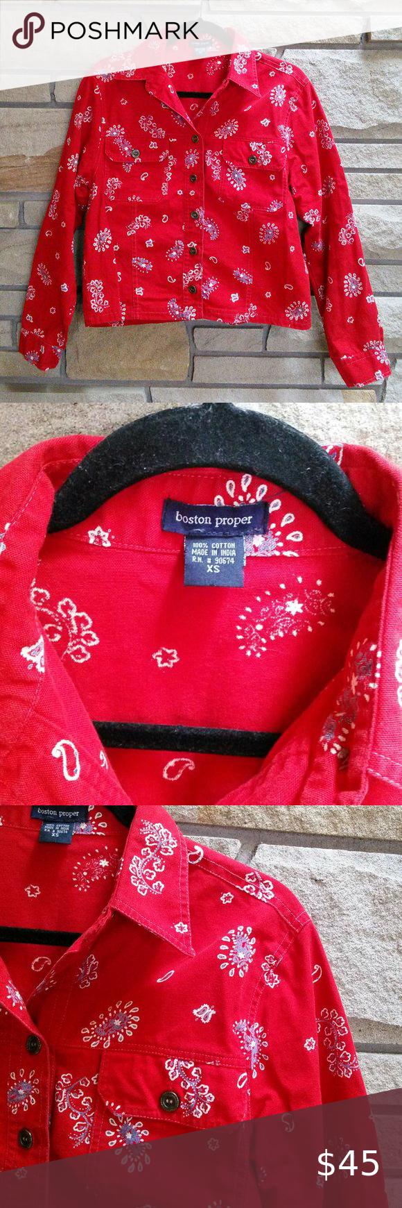 Boston Proper Denim Jacket Red Bandana Print Xs Boston Proper Denim Style Button Front Jacket In Amazing Western Paisley B Red Jacket Bandana Print Red Bandana [ 1740 x 580 Pixel ]