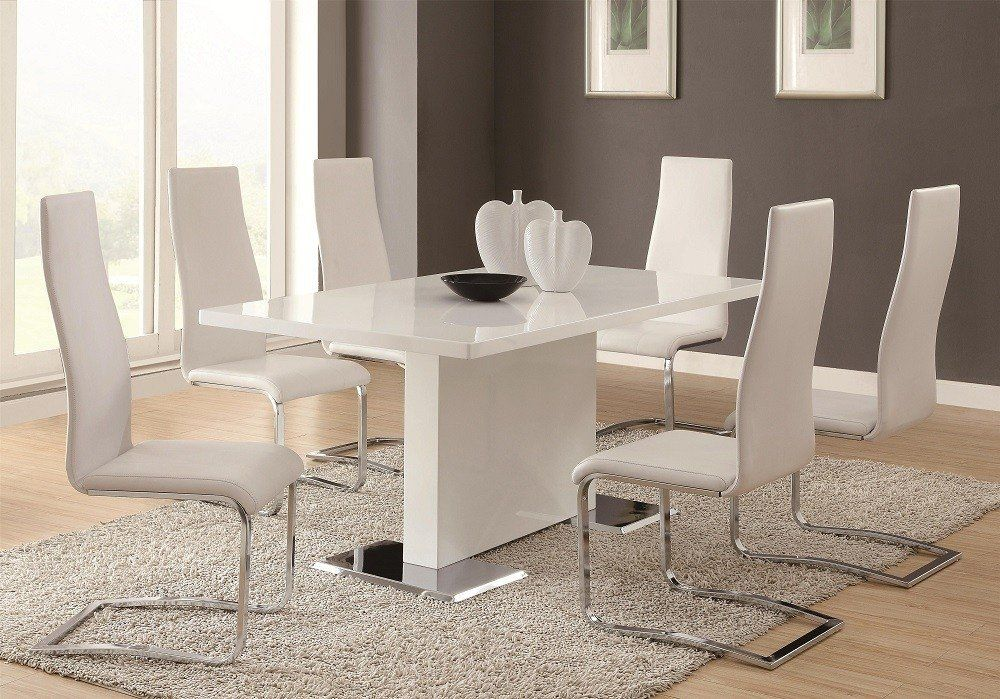 Glossy White Contemporary Dining Table Современная