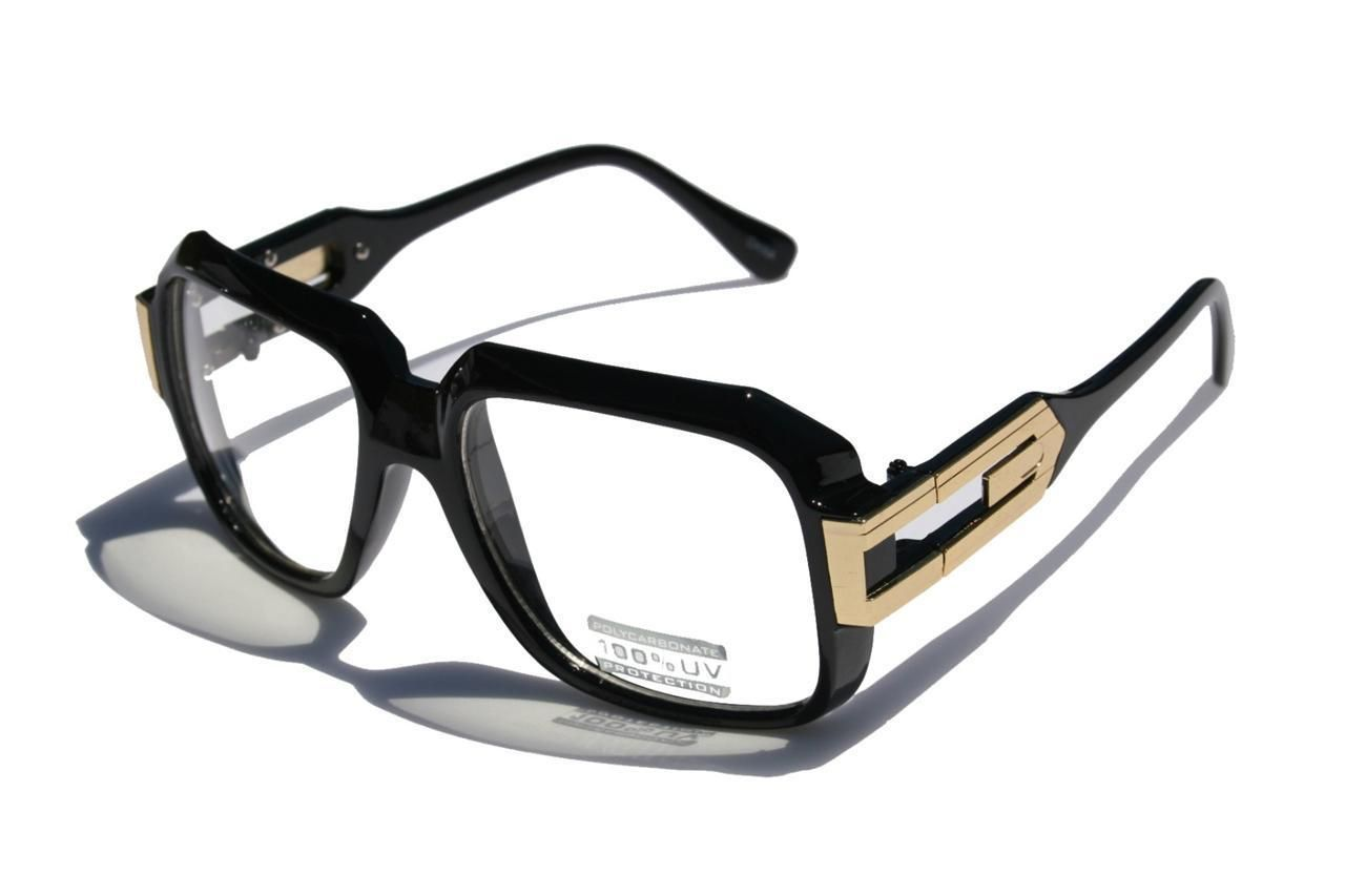 e16237c182d7 Details about Gloss Black Clear Lens Square Sun Glasses Gold Metal ...