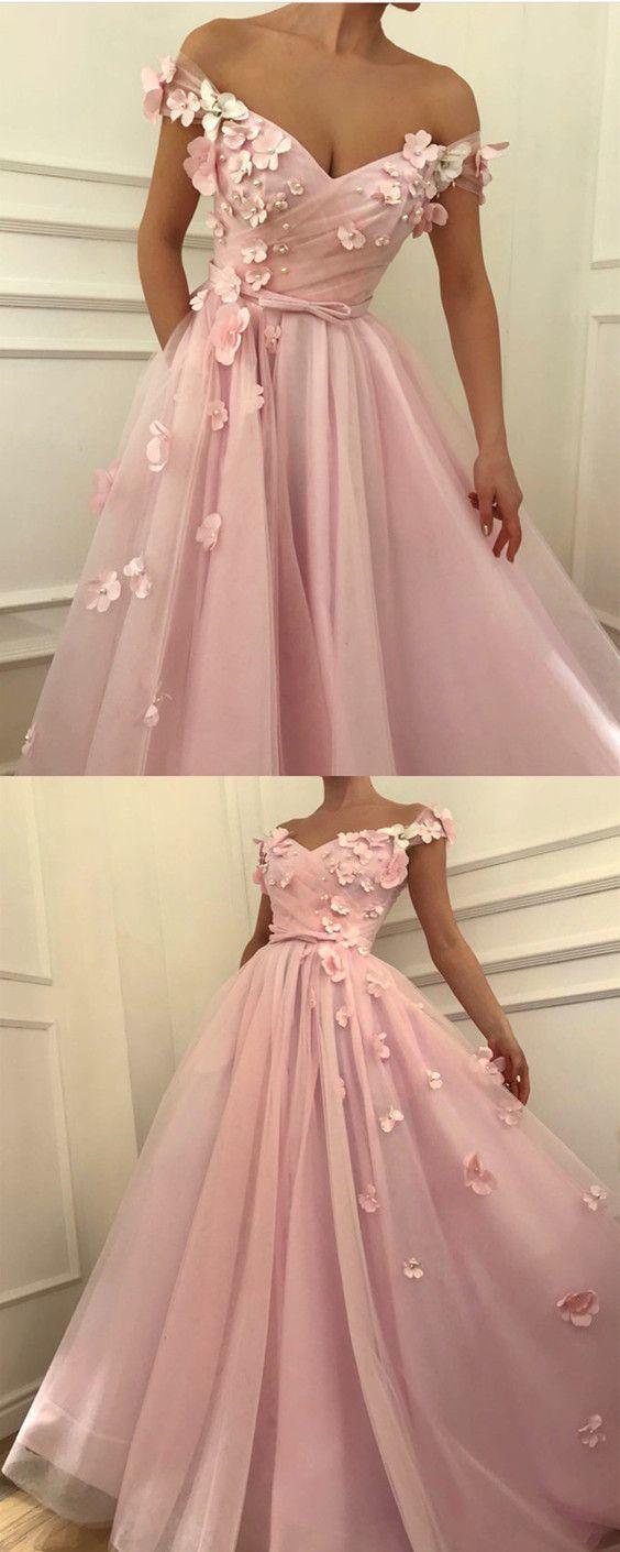 Pretty pink tulle long prom dresses unique vneck off the shoulder