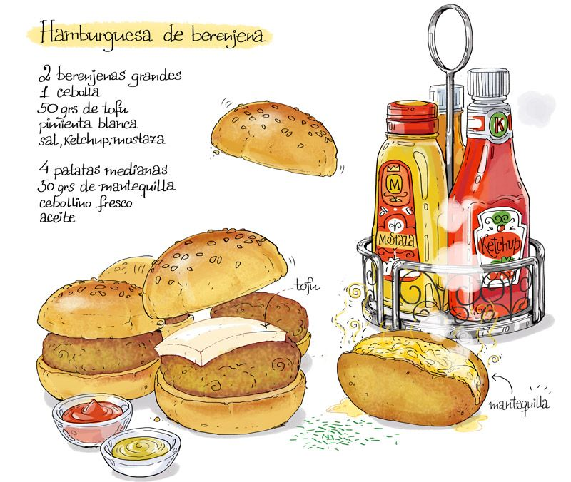 Cartoon Cooking Hamburguesisima Receta Ilustrada Recetas Divertidas Hamburguesa De Berenjena