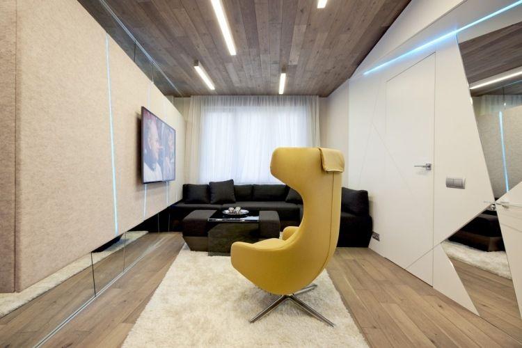 kleines Wohnzimmer mit blauen LED Streifen und Spiegeln optisch - kleine wohnzimmer modern