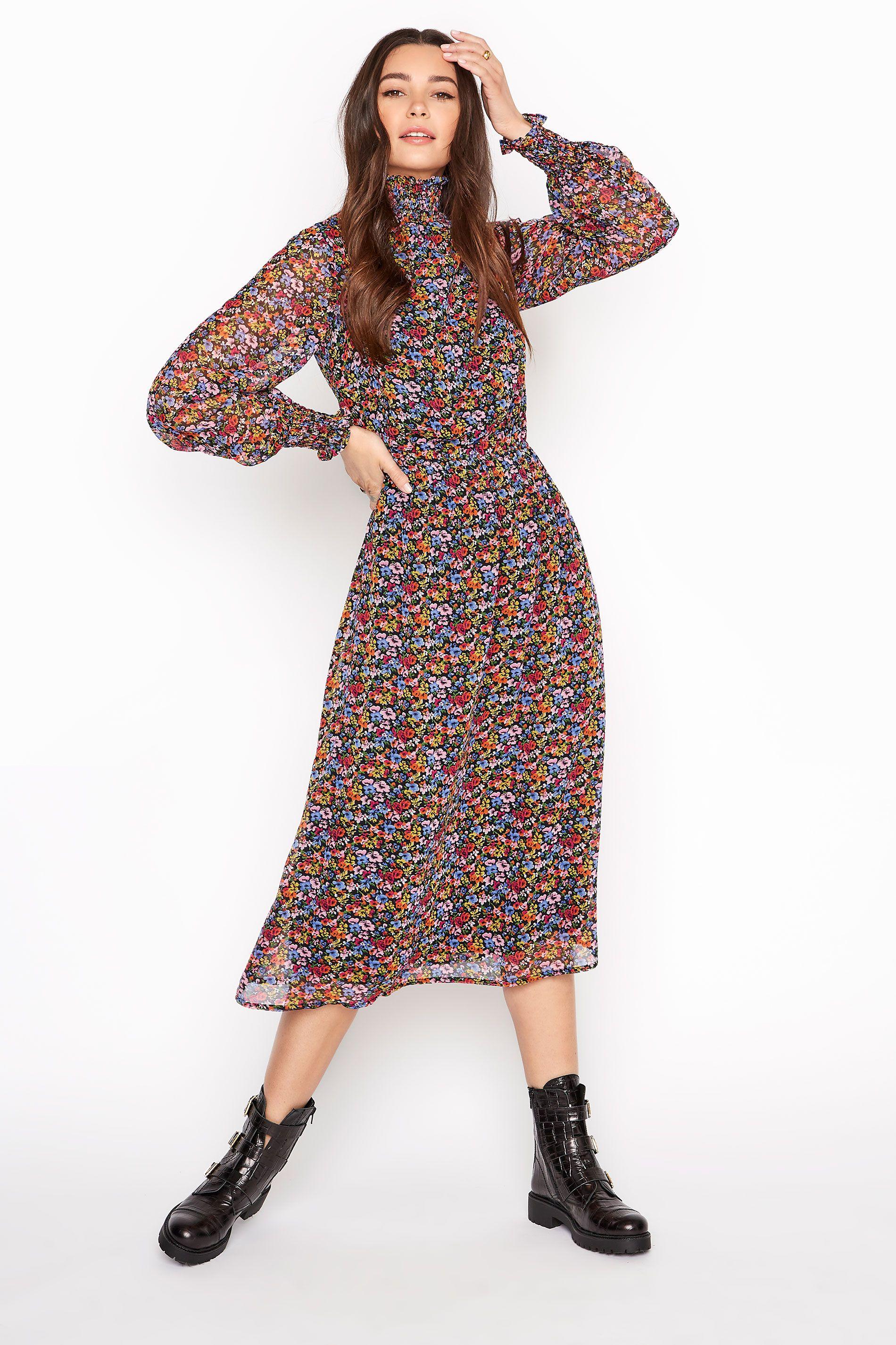 Tall Floral Chiffon Midi Dress Sizes 8 32 In 2021 Clothing For Tall Women Girls Maxi Dresses Extra Long Maxi Dress [ 2850 x 1900 Pixel ]