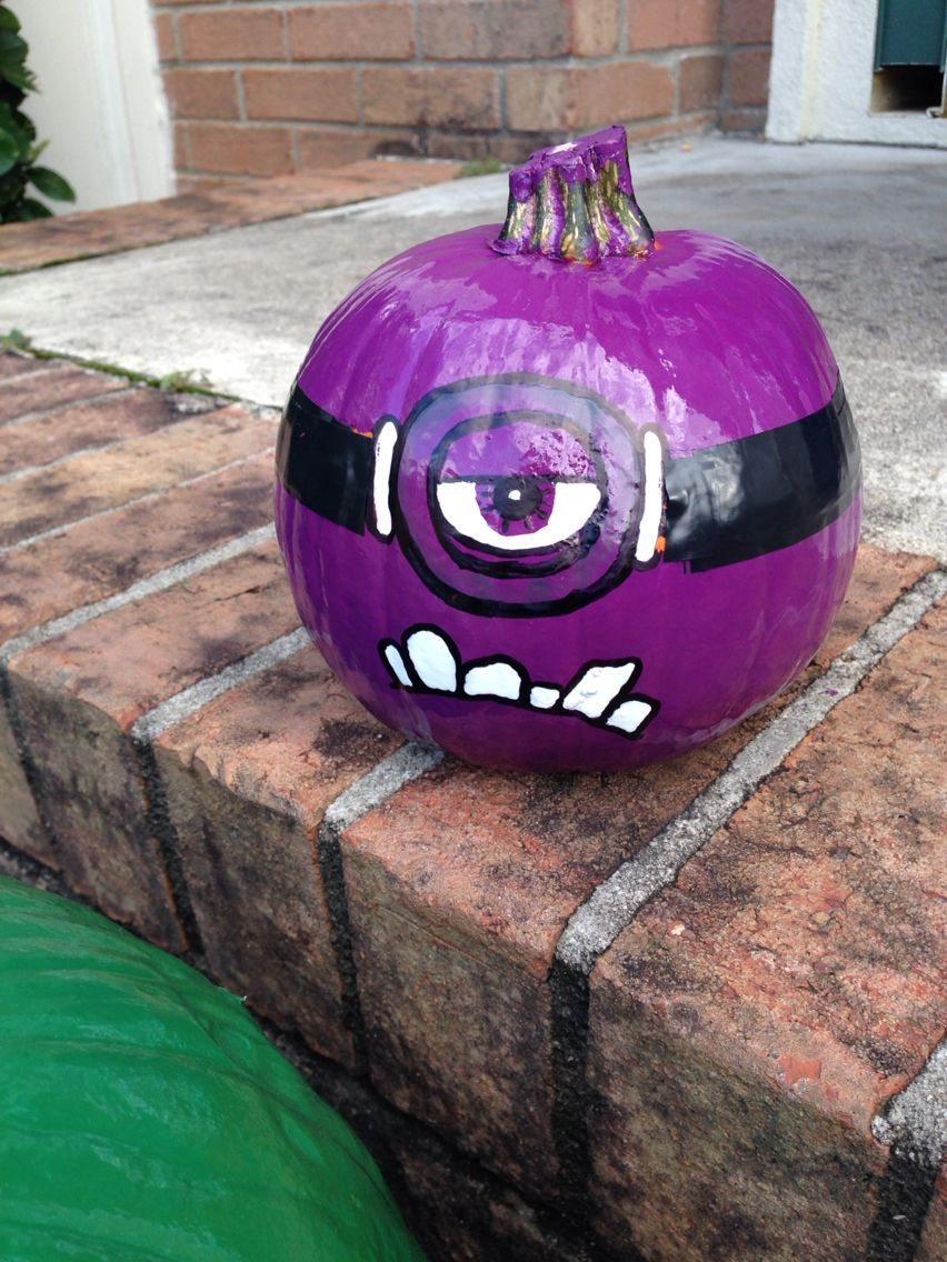 Painted Minion Pumpkins Purple Minion Pumpkin Spray Paint Purple Draw On Face With