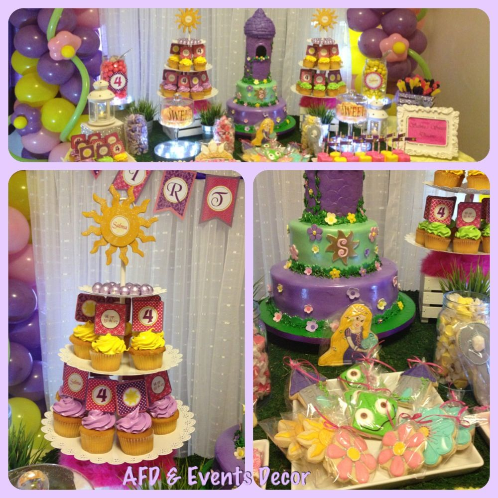 Rapunzel Themed Birthday Party Sweets Table