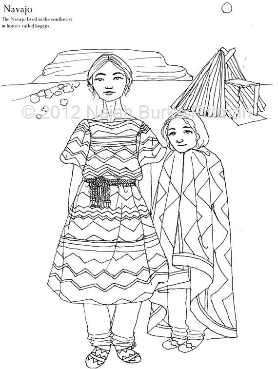 Navajo Dress coloring page | color fashion | Pinterest | Manos ...