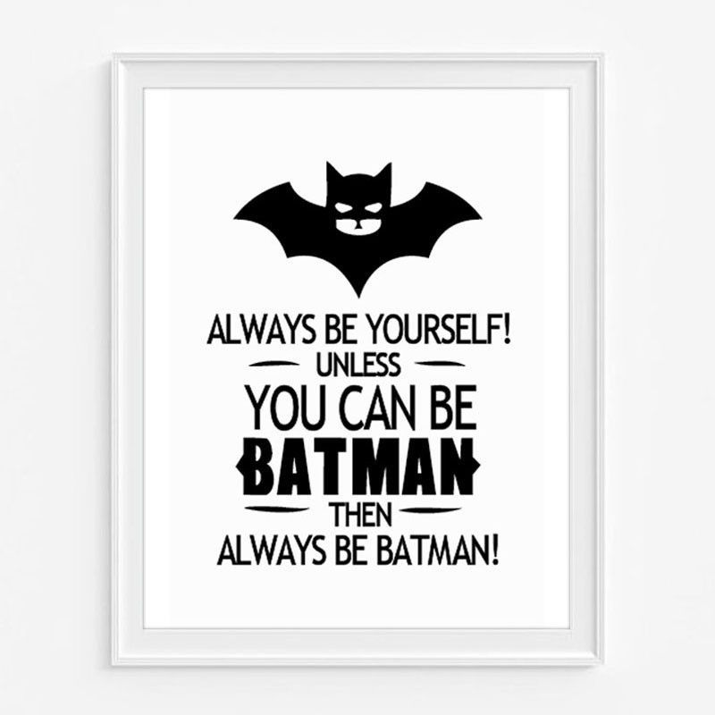 1 x Batman Quote Canvas Wall Art Print Poster Size (Centimeters): 20 ...
