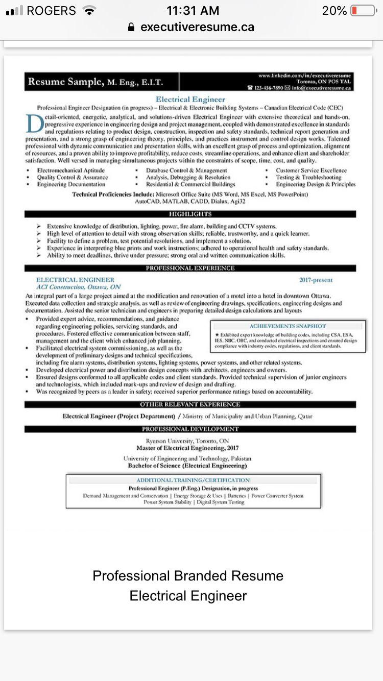 Branded Resume Sample Electrical Engineer Resume
