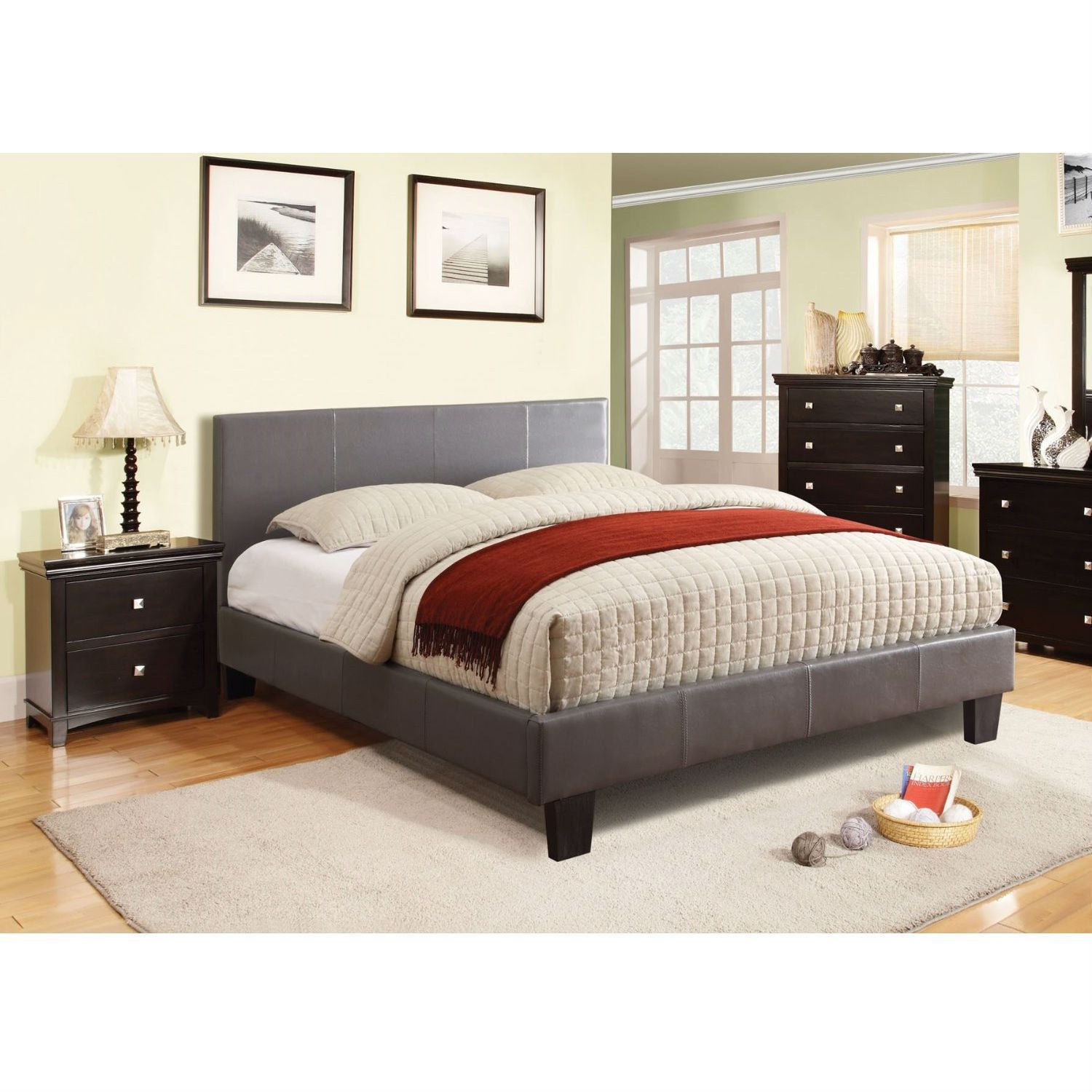 Queen size Platform Bed with Headboard Upholstered