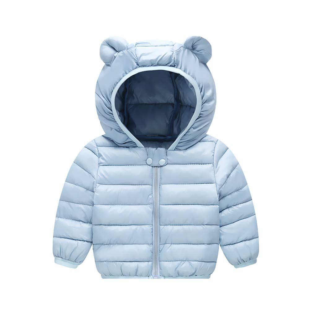 Unisex Cotton Padded Parkas Kids Boys Girls Winter Jacket Fur Hooded Thick Coats