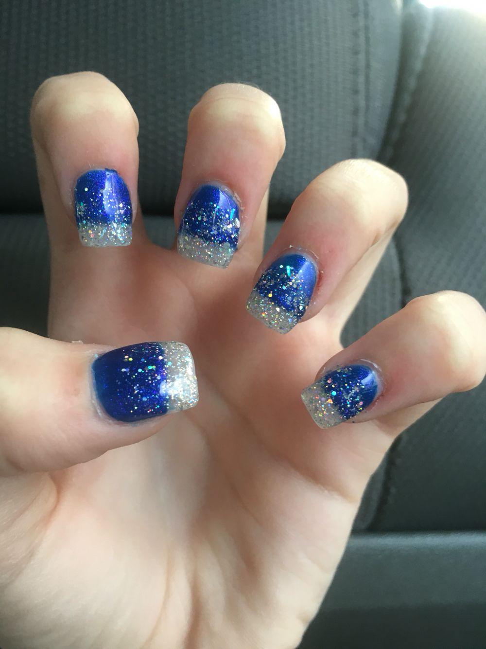 Royal blue fake nails with sliver sparkles. | Nails | Pinterest ...