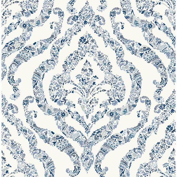 Nuwallpaper Blue Guildford Blue Wallpaper Sample Nus3547sam The Home Depot In 2021 Damask Wallpaper Brewster Wallpaper Wallpaper Warehouse