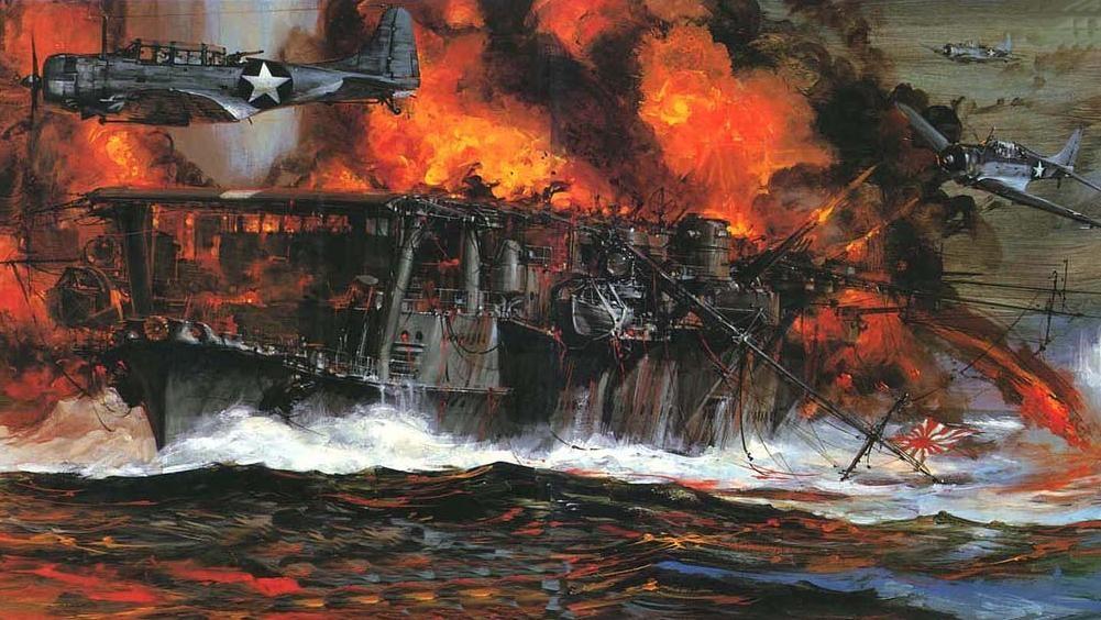 IJN Shokaku, una imagen del mismo durante la batalla del Mar de Coral, donde recibió la atención de los aviones del USS Yorktown, que le alcanzaron con tres bombas. Aunque el gran incendio provocado por las mismas fue controlado, una cubierta de vuelo agujereada le impidió continuar el combate, y su posterior reparación no le permitió llegar a tiempo a la batalla de Midway... Más en www.elgrancapitan.org/foro