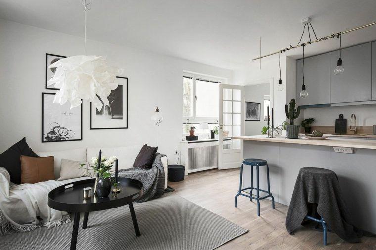 Cucina E Sala Open Space.Arredamento In Stile Nordico Cucina Soggiorno Open Space Con Mobili
