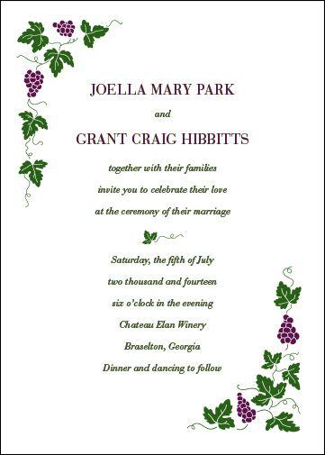 Vineyard Motif Wedding Invitations Sample